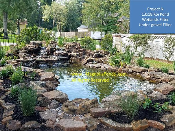 Magnolia ponds landscaping and water gardens the for Koi pond the woodlands tx